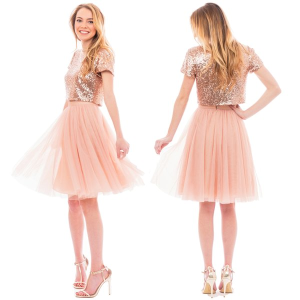 Blush Pink Two Pieces Junior Bridesmaid Dresses Short Capped Sleeve ...