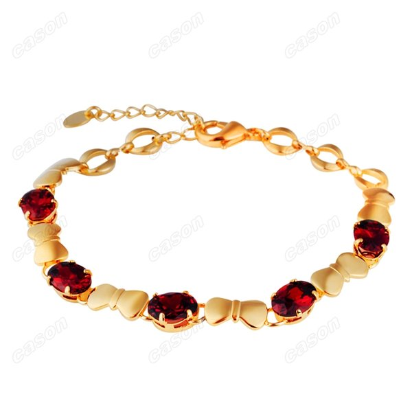 Brand Cason Ellegant Women Jewelry Butterfly knot stitching Crystal Charm Bracelet 18K Gold Plated Red colour Drop Shipping BRJ-0006