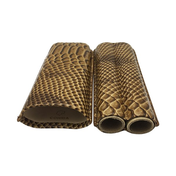 Easy to carry COHIBA Gadgets High-end Portable Brown Crocodile Leather Cigar Case Outdoor Travel Humidor 2 Tube