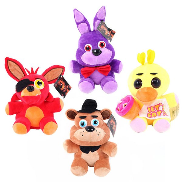 Juguetes de peluche cinco noches en la felpa de Freddy Bonnie Foxy Freddy Chica Fazbear fiebre felpa juguete muñecos rellenos de peluche Niños regalo de los niños WX-T86