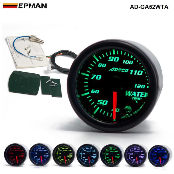 "best selling 2"" 52mm 7 Color LED Smoke Face Water Temp gauge Water Temperature Meter With Sensor Car meter Auto Gauge AD-GA52WTA"