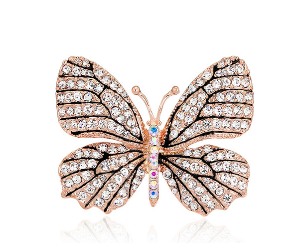 High Quality Fashionable Crystal Rhinestone Butterfly Brooch Shawl Pins Brooch Female Fashion Broches Jewelry Women Dress Wedding Bridal