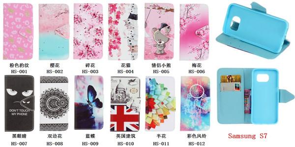 Custodia in pelle a portafoglio con fiore farfalla per Samsung Galaxy S7 Edge IPhone 6 6S Plus.