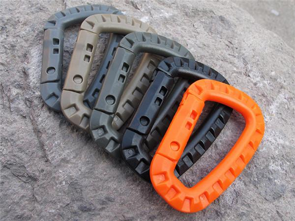 1000 pcs D Shape Mountaineering Buckle Snap Clip Plastic Steel Climbing Carabiner Hanging Keychain Hook Fit Outdoor Army EDC