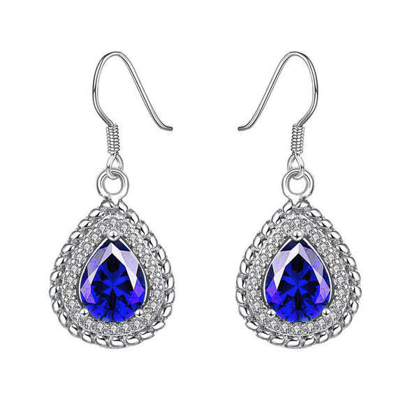 Sapphire water drop shaped earrings real white gold earrings women blue jewelry engagement wedding earrings