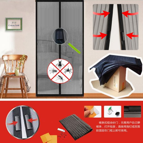 Wholesale-Hot Summer 1pc mosquito net curtain magnets door Mesh Insect Fly Bug Mosquito Door Curtain Net Netting Mesh Screen Magnets