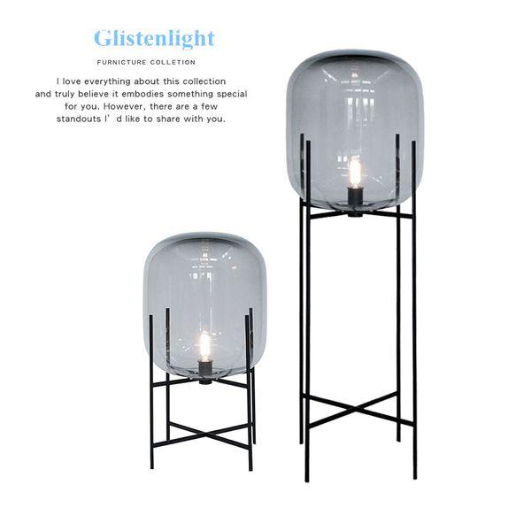Nordic post modern Lámpara de pie de cristal Diseño de moda ligero ámbar gris vidrio Lámparas de mesa Hogar Luz Salón Casa de campo Hotel