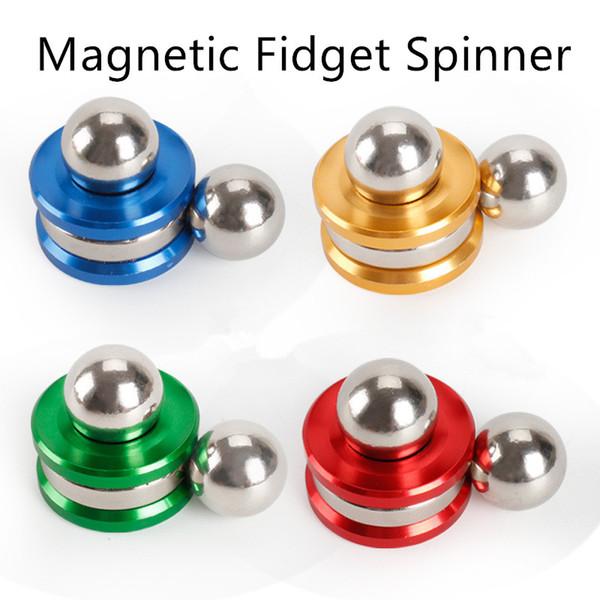 Magnetic Fidget Orbiter Spinner mit 2 Stahlkugeln Neodym-Magneten 4 Farben SUS Handspinner EDC Neuheit Fidget Spinner Dekompressionsspielzeug