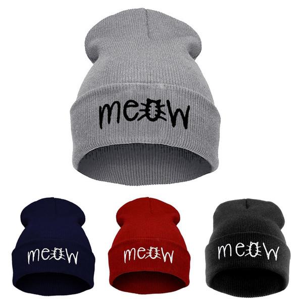 Herbst Winter MEOW Cap Männer frauen Casual Hip Hop Hüte Gestrickte Wolle Skullies Beanies Hat Warme Wintermütze Für Frauen Beanie