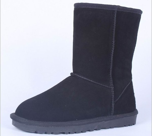 Classic Winter Women Snow Boots Suede Leather Mid-Calf Fashion Boot Ladies Fashion Warm Plush Suede Boots 15Colors Plus Size 11 12