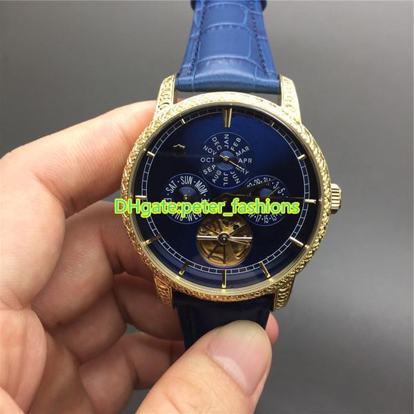 Montres de luxe pour hommes de marque Montres en acier inoxydable de couleur or, boîtier en cuir bleu Bracelet homme Montre décontractée