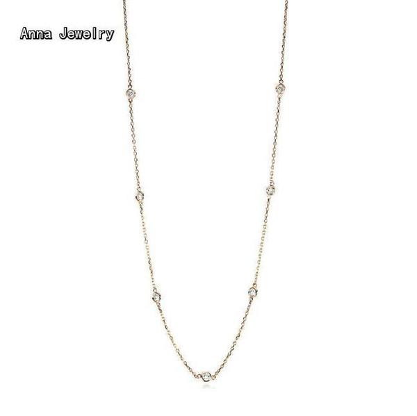 Feinster Schmuck langkettige Sprinkle Steine Halskette, 10 runde Steine in 90cm Kette. Kann als langkettige oder doppelte Tour Halskette tragen