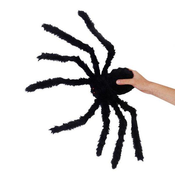 Nouveauté 1.5meters Bushy géant araignée noire drôle plaisantez jouets décoration d'Halloween réaliste Prop Effrayant Creepy Bar Party