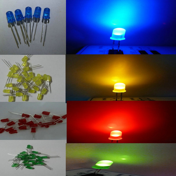 best selling 1000pcs 5mm diffused white Red Blue green yellow Orange LED Light led Diodes 5mm Diffused Red Ultra Bright Round LED Light Free Shipping