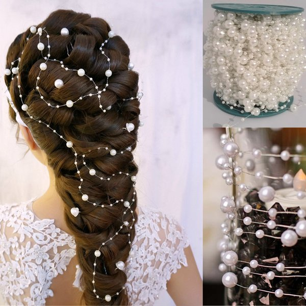 60 Meters/Roll Pure White 8mm&3mm Pearl Bead Garland Wedding Centerpiece Flower/Table Decoration Bridal Hair Accessory