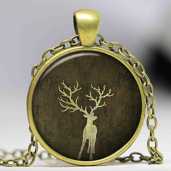 Christmas Deer Cabochon Glass Pendant Necklace Long Silver Chain Christmas Gift