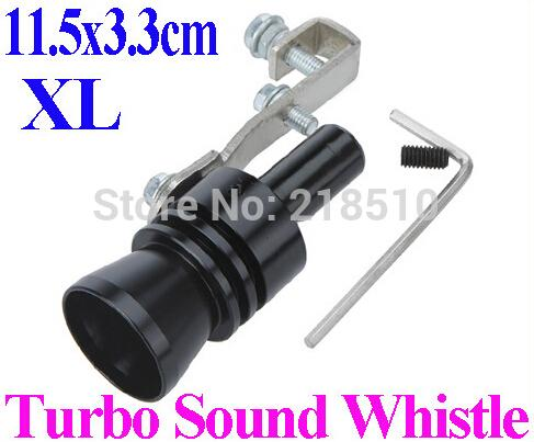 New Universal Car Vehicle Turbo Sound Whistle Exhaust Pipe Tailpipe Fake BOV Blow-off Valve Size XL 11.5*3.3cm Black order<$18no track