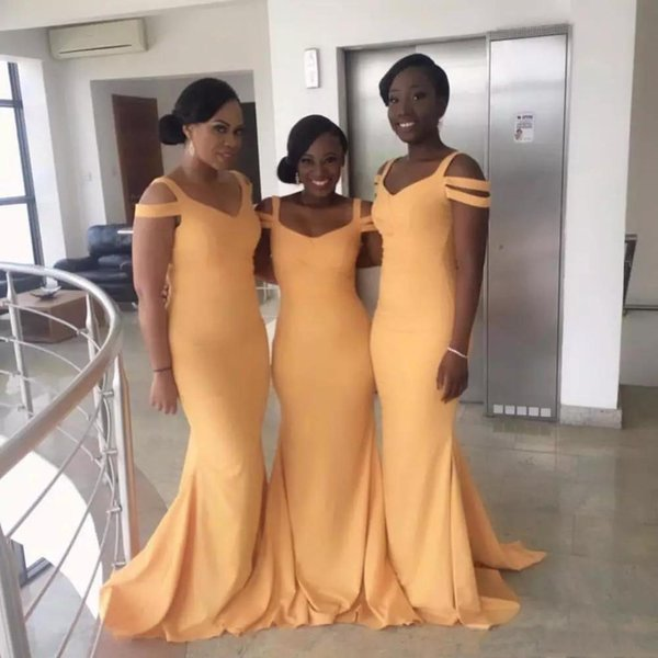 Sand Yellow Mermaid Long Bridesmaid Dresses Scoop Neckline Party Gowns Back Zipper Strip Shape Sleeves Custom Made Guest Formal Dresses