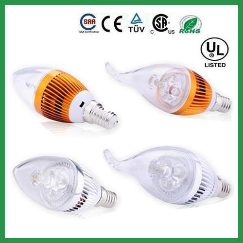 높은 전원 디 밍이 가능한 9W 크리 어 촛불 전구 E14 E12 E27 조명 램프 led 통 led 샹들리에 조명 AC 110-240V