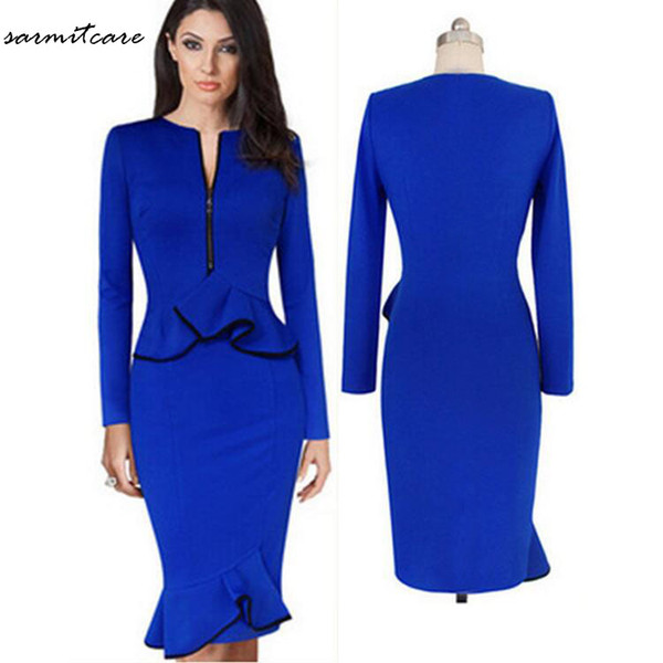 0122 - Red Blue Colors Front Zip Long Sleeve Waist Hem Ruffled Knee Long Dress OL Working Dress Office Dress Long Summer Dress
