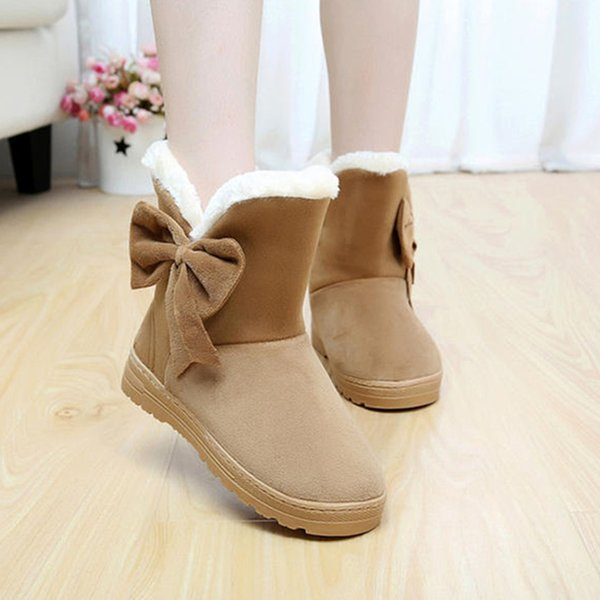 Fashion 2017 Winner Women Boots Thicken Bowtie Snow Boots slip-on Ankle Boots Casual Solid Flat Women Shoes