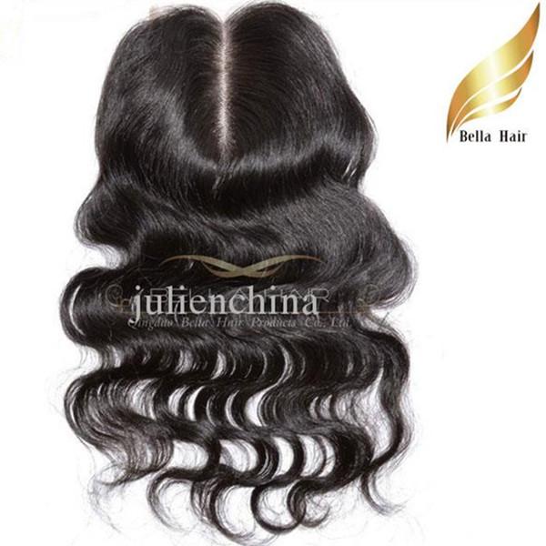 Extensiones de cabello humano 100% peruanas Color natural Parte media Onda del cuerpo Cierre de encaje superior Envío gratuito