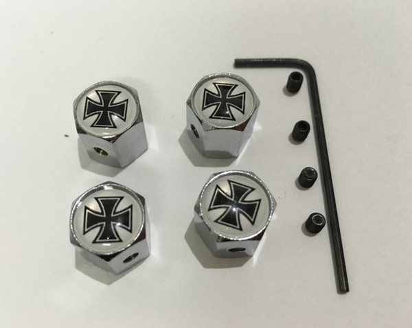 4pcs/set white and black color cross pattern Metal Anti-theft Style Car Wheel Tire Valves Tyre Dust Caps for all car