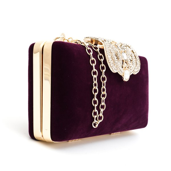 Directo de fábrica Diamantes de la Corona Terciopelo Mujeres Bolsa Día Embragues Pequeño Bolso Monedero Bolsas de Noche de Cristal 4 Color Tote 8007