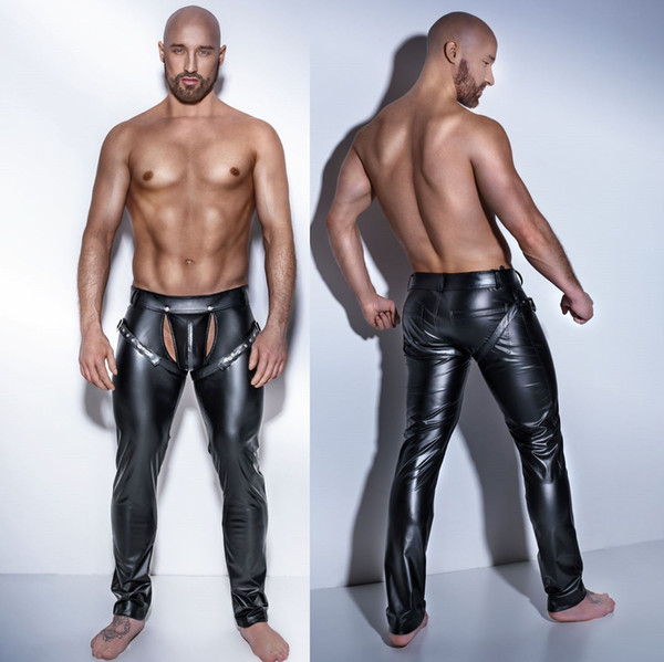 top popular New Erotic Men's Sexy Lingerie men punk Gothic stripper leather trousers dance Long Pants Fitness S--XXL X6722 2019
