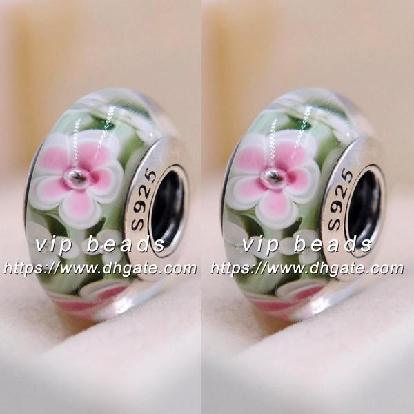 Plata esterlina 925 negro con flor rosa y azul del encanto de cristal de Murano