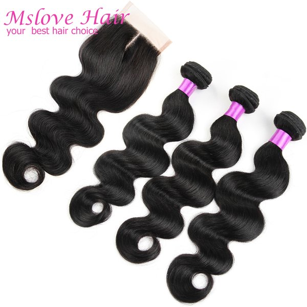Queen Weave Beauty Ltd Brazilian Body Wave With Closure 4 Pcs/lot Brazilian Hair Bundles With Lace Closures Brazilian Human Hair Body Wave