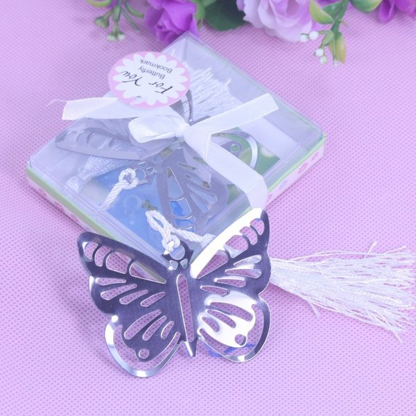 top popular Butterfly Bookmarks Metal With Tassels Stationery Gifts Wedding Favors Stainless Steel 600PCS LOT 2021