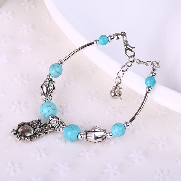 wholesale free shipping Turquoise bracelets fashion jewelry green turquoise owl charm bracelets retro bracelet silver plated TB0003