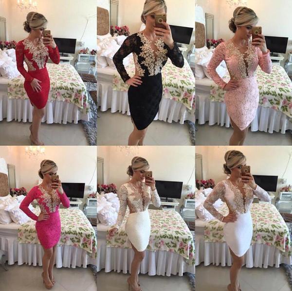 2016 manga larga vestidos de coctel magnífico Hundiendo cuello en V con cordón de las perlas de la vendimia de la envoltura Vestidos de Fiesta Vestidos cortos del Encanto