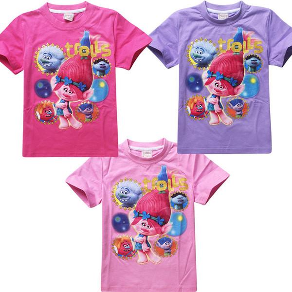 3 Colour Trolls Poppy Branch T-shirt boy girl nuovi cartoni animati Poppy Biggie T-shirt manica corta per neonati B