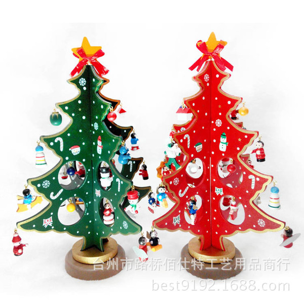Christmas Articles.Hot Sale Mini Wooden Christmas Tree Table Furnishing Articles Christmas Tree With Bell Small Snow Man Pendants Christmas Decorations 208 Large