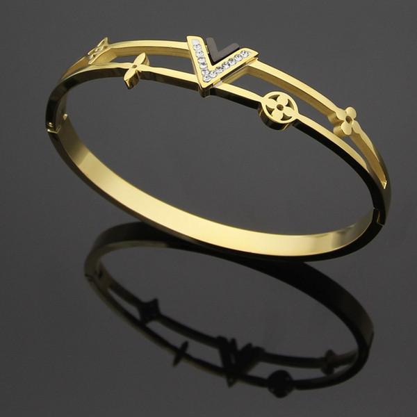 Pulseras de acero titanium joyería al por mayor en forma de V diamante hueco de cuatro hojas pulseras de flores 18 K oro pareja pulseras de marca de comercio