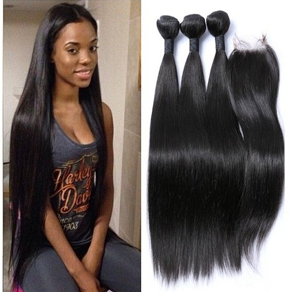 Factory Silky Straight Brazilian Hair With Closure Hair Bundles And