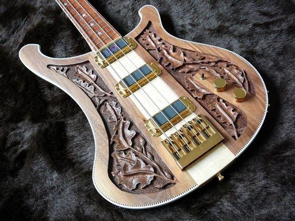 RIC 4003 Bastard LK Lemmy Kilmister Edição Limitada Natural Noz Mão-carved Pescoço Da Guitarra Elétrica Mão Através Do Corpo, Vinculação Tabuleiro de damas