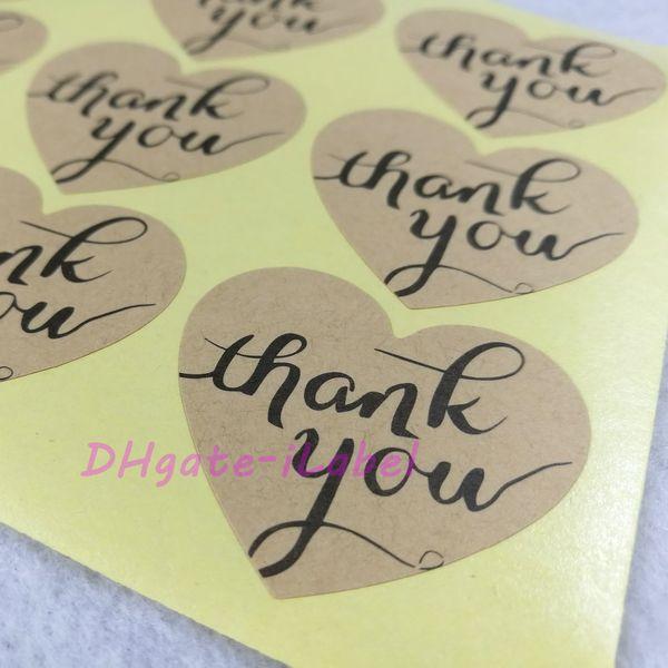 """top popular 300pcs lot 32*38mm ( 1.26"""" x 1.5"""" ) Heart Shape Thank You Sticker Kraft Label Sticker DIY Hand Made Gift  Cake Baking Sealing Sticker 2021"""