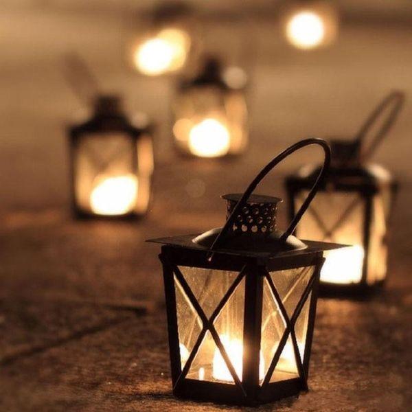 Black/White Metal Candle Holders Iron Lantern Hanging Candlestick Wedding Candelabra Centerpieces Decoration Free Shipping