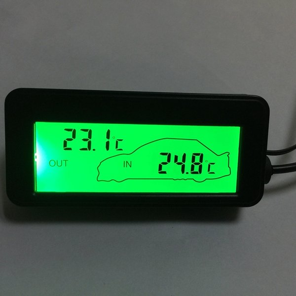 Mini LCD Digital Termômetro Do Carro DC 12 V Car Inside / Outside Medidor de Temperatura Backlit Verde Veículos Termômetro 1.5 M Sensor de Cabo