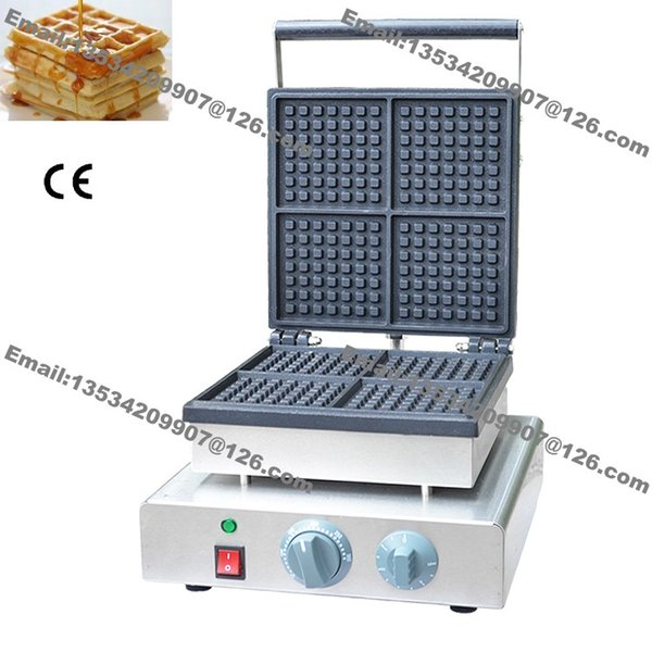 Free Shipping Commercial Use Non-stick 4-slice 110v 220v Electric Square Tranditional Belgian Waffle Maker Iron Baker Machine