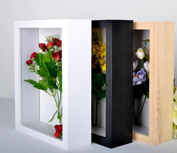 Zwei Farben Holz Shadow Box konserviert Künstliche Blumen Box Bilderrahmen