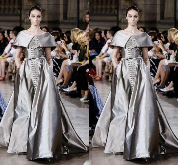 Vintage Silver Cap Sleeve Prom Dresses 2017 New Design A Line Evening Gowns Floor Length Satin Covered Buttons Formal Party Dresses