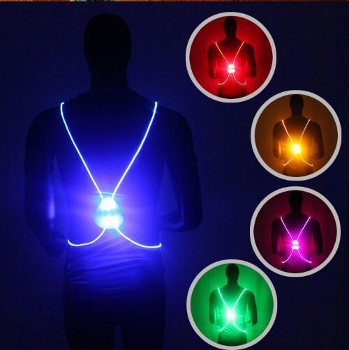 5 Cores LED Corrida Colete Cinto de Alta Visibilidade Com Cinto Reflexivo para Segurança Correr e Ciclismo CCA7439 100 pcs