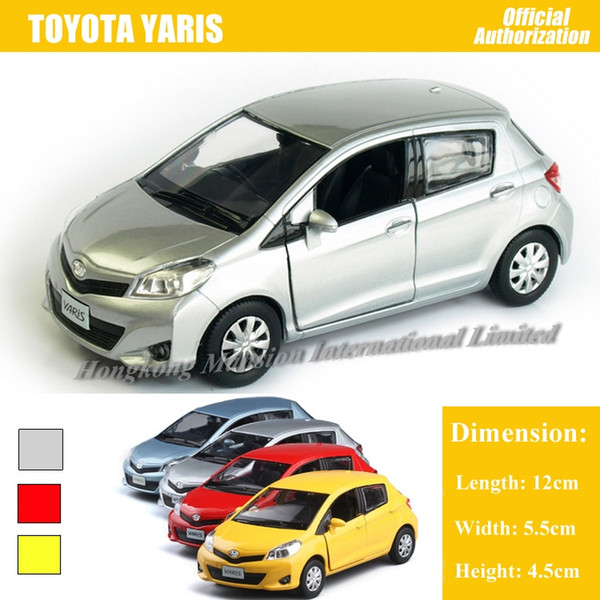 Promoción 1:36 escala Diecast aleación modelo de coche de metal para TOYOTA Yaris Collection modelo Pull Back juguetes coche con luces de sonido