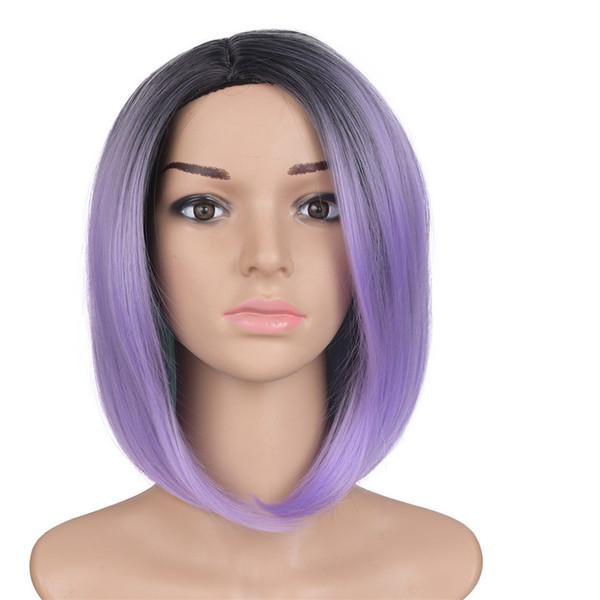 Mtmei Hair Products kurze synthetische Perücke mit Pony, mittleren Teil Burgundy Green Silber Ombre BOB Style Perücke für schwarze Frauen