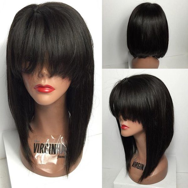 Full Lace Human Hair Wigs Bob With Bangs 130 Density Brazilian Glueless Lace Front Human Hair Wigs Female star