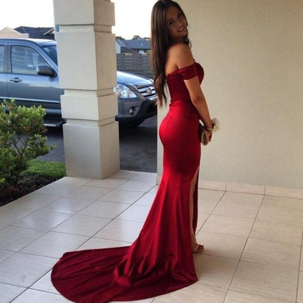 Red Mermaid Dress with Slit